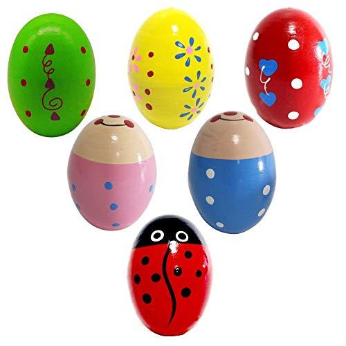 Creative Homemade Handmade Art Wooden Percussion Musical Egg Maracas Egg Shakers 6Pcs Decorative Eggs