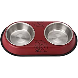 Follicomfy Double Dog Bowl Pet Feeder Station, Stainless Steel Water and Food Bowls with Skid Silicone Base,Red