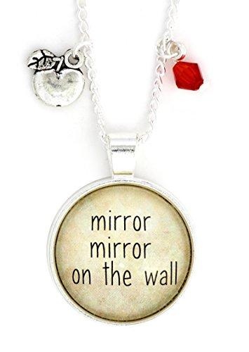 Magic Metal Mirror Mirror On The Wall Necklace Silver Tone NW50 Fairytale Snow White Poison Apple Charm Pendant ()