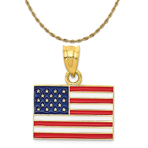 - Mireval 14k Yellow Gold Enameled United States Flag Pendant on 14K Yellow Gold Rope Chain Necklace, 20