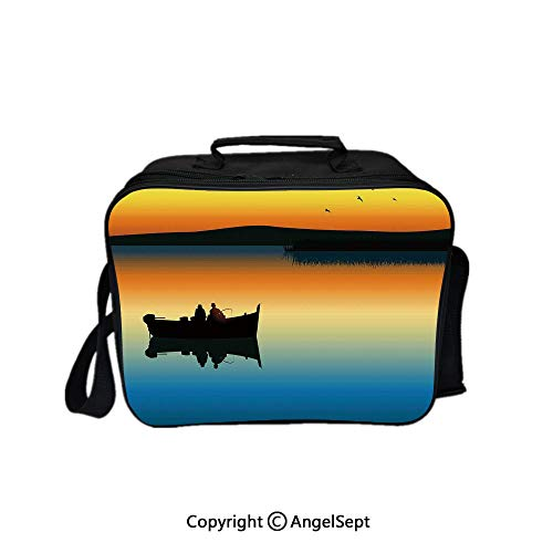 (Lunch Box Carry Case Handbags,Buddies on Tranquil Still Lake at Epic Sunset Fish Male Friends Home Decor Orange Blue 8.3inch,With Zipper For Adults Kids Teachers Workers)