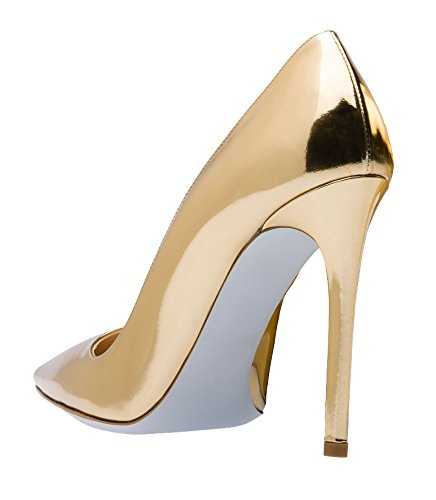 MONICOCO Übergröße Damen High Heels Mirror Pointed-Toe Pumps Gold