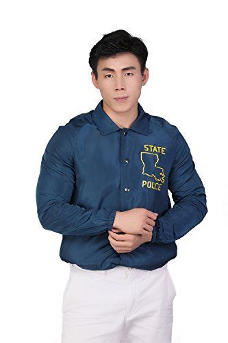 Xcoser State Police Windbreaker Jacket for Men Halloween Cosplay XXL Lake Blue