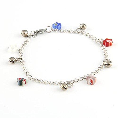 - Skyllc Women's Millefiori Murano Bell Anklet Ankle Bracelet Pentagram Charm Barefoot Chain 8mm