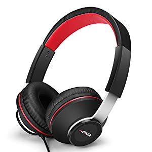 J-EARLE Gaming Headset Surround Stereo Bass Over-Ear Headphones with Mic Volume Control and Mute Function for PC PS4 Xbox One Mac Nintendo Switch iPad Smartphones(Black/Red)