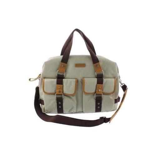 (Bodhi Handbags Coated Canvas Leather Trim East West Handbag Beige Large)
