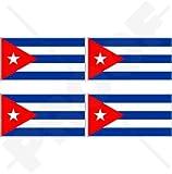 """CUBA Cuban Flag República de Cuba 2"""" (50mm) Vinyl Bumper-Helmet Stickers, Decals x4"""