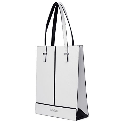 Kadell Women Leather Top Handle Handbags Tote Shoulder Shopper Bags for Ladies White