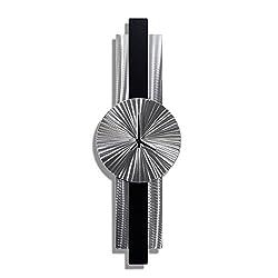 Statements2000 Silver & Black Modern Hanging Metal Wall Clock - Unique Contemporary Functional Metal Wall Art by Jon Allen - Infinite Orbit