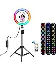 icuanuty Ring Light 26cm Ring Licht met Statief voor YouTube TikTok, Ring Lichten met Remote Control
