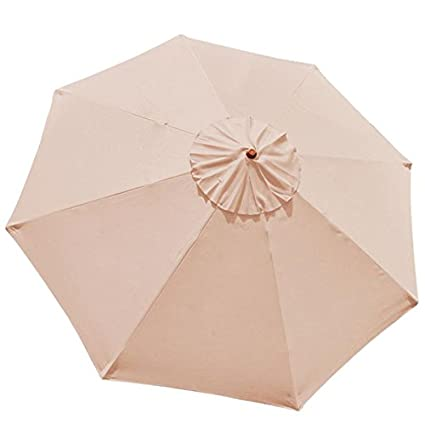 9 Foot/ 9 Ft Polyester 8 Rib Umbrella Replacement Canopy Tan Color For