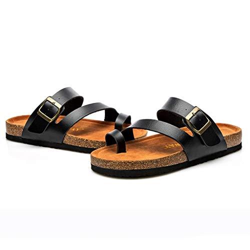 YKARITIANNA Fashion Womens Cross Toe Buckle Strap Summer Beach Slippers Flat Cork Slippers ()