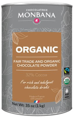 Monbana Organic Sipping Chocolate Powder, 35 oz. Canister