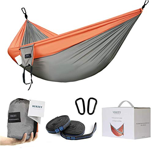 VERZEY Camping Hammock Double for Outdoor with Tree Straps,Lightweight Nylon Portable Parachute Hammock