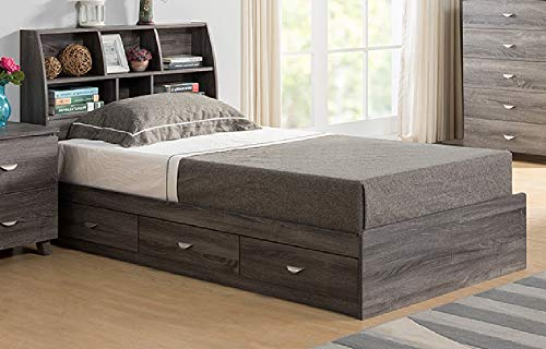 "Major-Q 55"" x 76"" x 38""H Modern Contemporary Wooden Style Bookcase Headboard Storage Component on The Side Distressed Gray Finish Full Size Bed Id80y1602f+y1601f"