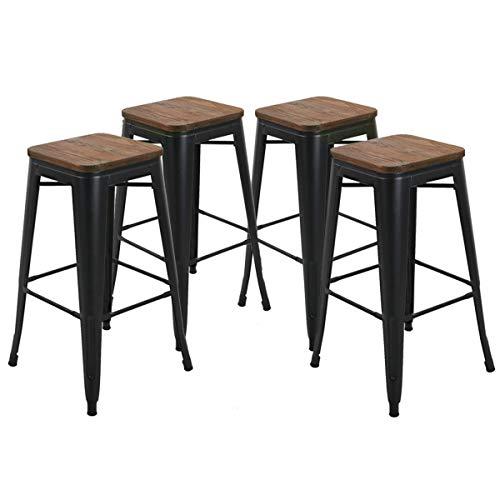 Amazon Com Yongqiang Metal Barstools Set Of 4 Bar Stools Backless 30 Inch Kitchen
