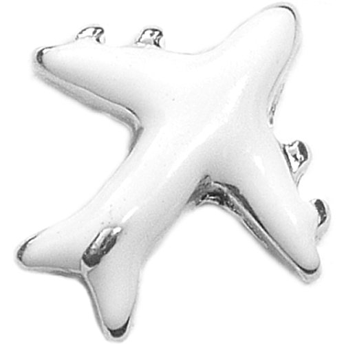 White Airplane Floating Locket Charm (Airplane Floating Locket Charm)
