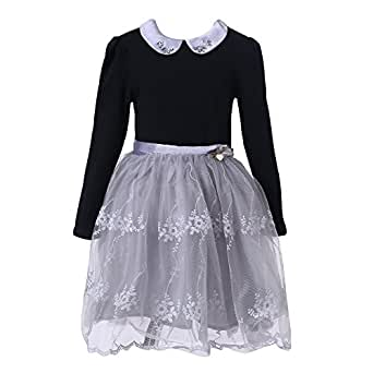 Richie House Girls' Elegant Long Top with Layered Mesh Bottoms RH2083-A-2/3