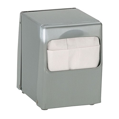 (TableTop King TTLOWBS Napkin Dispenser, Low Fold 4-7/8 x 3-1/2 in, 2 Sided, Brushed Satin Steel)