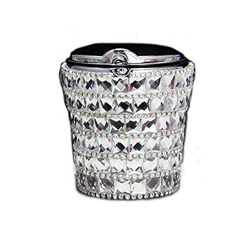 Diamond Cigarette - Portable Bling Bling Diamond Smokeless Car Ashtray Auto Cigarette Odor Smoke Remover Cylinder Cup Holder With Led Lamp (Silver)