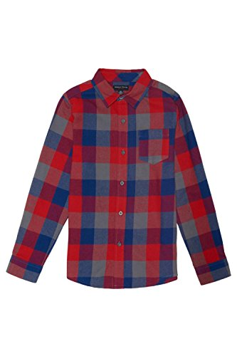 French Toast Big Boys' Long Sleeve Flannel Shirt, Blue, 12