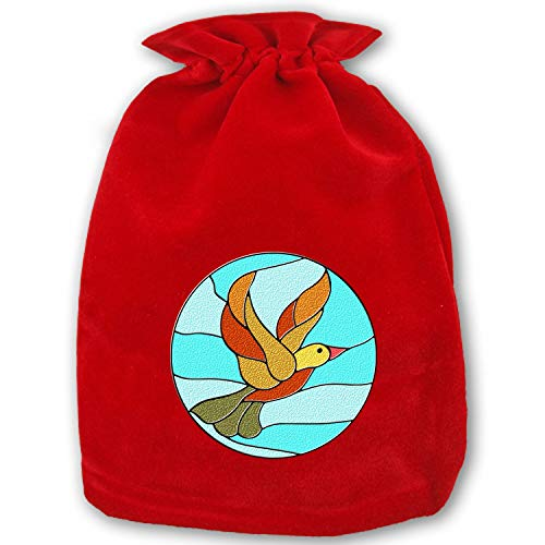 Reusable Grocery Gift Bag Totes Bird Circles Duck Stained Glass Christmas Holiday Shopping Bags Eco ()