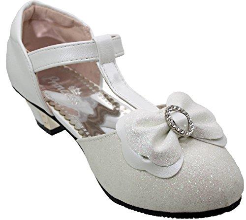 Ragazze Bambini Bianco Con Strass E Brillantini Tacchi Eleganti Scarpe Eleganti Da Cerimonia