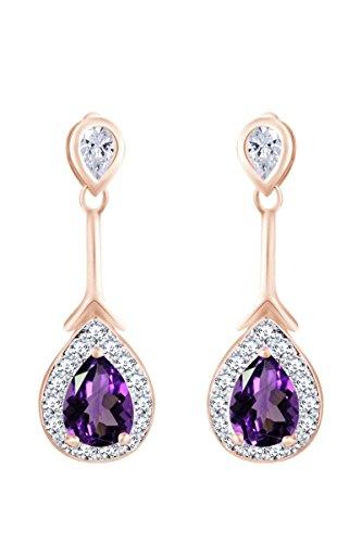 Gold Over Sterling Violet - 14k Rose Gold Over Sterling Silver Simulated Violet Amethyst & White CZ Teardrop Dangle Earrings