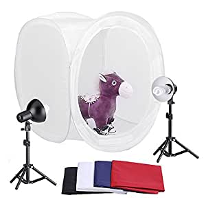 "Neewer 30""/76cm Photography Shooting Tent Kit, Including (2) 45 Watt 5000K Light Bulbs,(2) Studio Lights (1) 30""/76cm Studio Light Tent with (4) Backgrounds - Black/White/Dark Blue/Red"