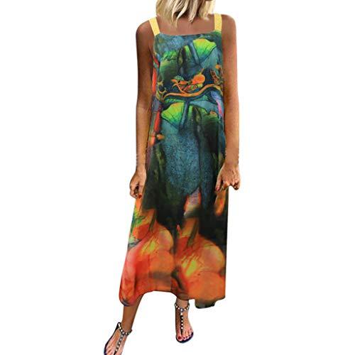 (Women's Dresses Vintage African Print Summer Sleeveless Tank Maxi Dress Soft Chiffon Casual Loose Beach Long Dress Green)