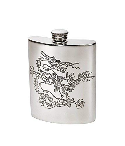 (Wentworth Pewter- Chinese Dragon Pewter Kidney Flask,Hip Flask, Spirit Flask, 6oz capacity, Dragon design)