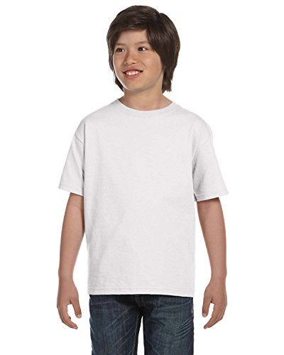 Fruit of the Loom Youth 100% Cotton Lofteez HD T-Shirt, Large, WHITE (Youth T-shirt Lofteez)