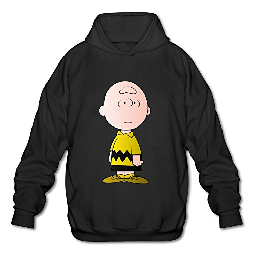 Men's Charlie Brown Design Hoodies Sweatshirt Black Size L By Xuruw