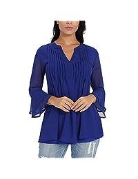 Nacy Women's Long Sleeve Shirts Loose Split V Neck Pleated Tunic Blouses Tops