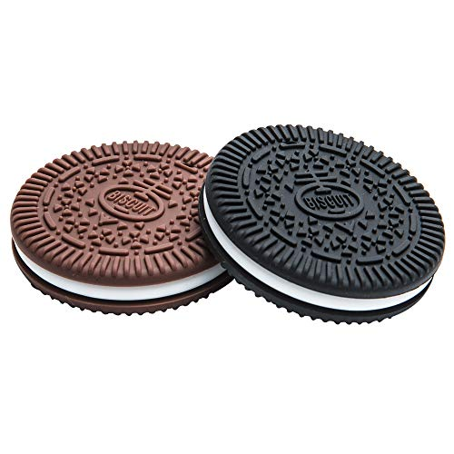 (Baby Teething Toys BPA Free Silicone Teethers. Bendable & Freezer Friendly. 100% Silicone (Similar to Nipples & Pacifiers) Soft Cookie Teether- Easy to Hold. Set of 2(Biscuit Black & Brown))
