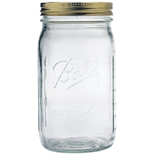 Ball Wide Mouth Quart (32 oz) Jars with Lids and Bands, Set of 12 -