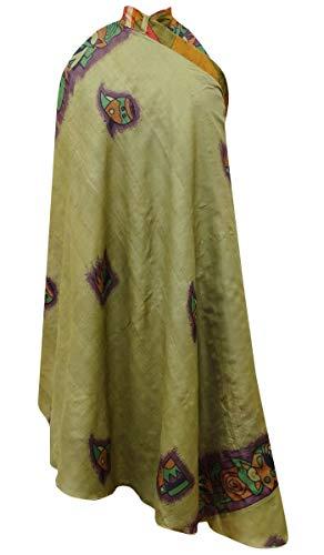 Pur d't Dress amp; Maxi Pche en Soie Wrap vtements rversible Saris Vert Olive r1Ipg0r