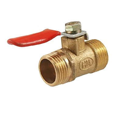 "3/8"" Male to 3/8"" Male Thread Flow Hole Ball Valve Gold Tone by Amico"