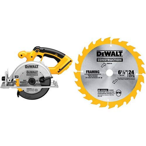 DEWALT DC390B 6-1/2-Inch 18-Volt Cordless Circular Saw (Tool Only) with DEWALT DW9154 6-1/2-Inch 24 Tooth ATB Framing Saw Blade with 5/8-Inch ()