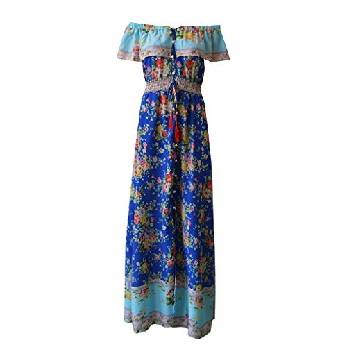 Women Dress Womens Floral Off The Shoulder Dresses Bohemian V-Collar Summer Casual Ruffle High Waist Slit Long Maxi Dress (Blue, S)