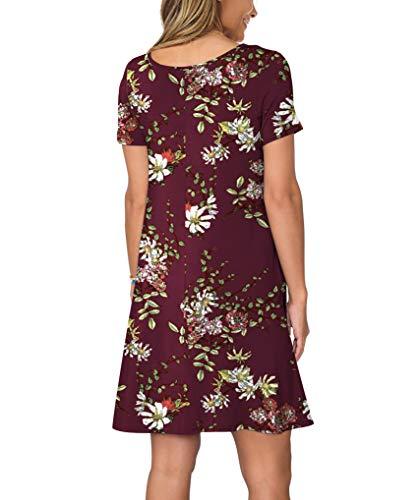 KORSIS Women's Summer Casual T Shirt Dresses Short Sleeve Swing Dress Pockets 4