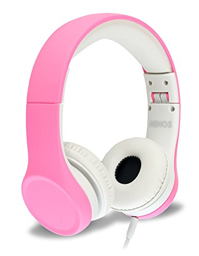 Nenos Children Headphones Kids Headphones Children's Headphones Volume Limited Headphones for Kids Foldable (Pink)