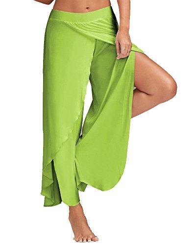 Pantalones Mujer Ancho Pierna Palazzo Pantalones Cintura Elástica Holgados Flojos Suave Pantalones de Yoga Glauco