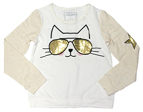 Flapdoodles Big Girls Long Sleeve Shirt with Fashionable Sequined Cat (Egret, 7) (Girls Glitter T-shirt)