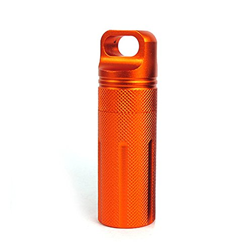 ALTTIMERY Outdoor Waterproof Capsule Seal Bottle Holder Case Container Dry Box Survival EDC Tool (Orange)