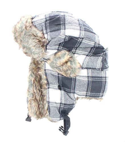 - Milani Original Trapper Flannel Plaid Pattern Style Hunting Aviator Winter Hat with Faux Fur and Strap (OneSize, Grey Plaid)