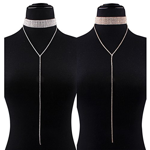 Tpocean 2 Pieces Wide Thick Diamond Neck Rhinestone Choker with Long Chain Pendant Choker Necklace Punk Gothic Stretch Adjustable Lariat Elastic Tassel Choker Necklaces Women Girls (2 Piece Lariat)