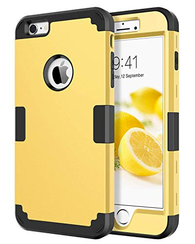 BENTOBEN for iPhone 6S Plus Case, iPhone 6 Plus Case, 3 in 1 Hybrid Shockproof Hard PC Cover Soft Silicone Bumper Full Body Protective Phone Cases for 5.5 inch iPhone 6 Plus/6S Plus, Yellow/Black