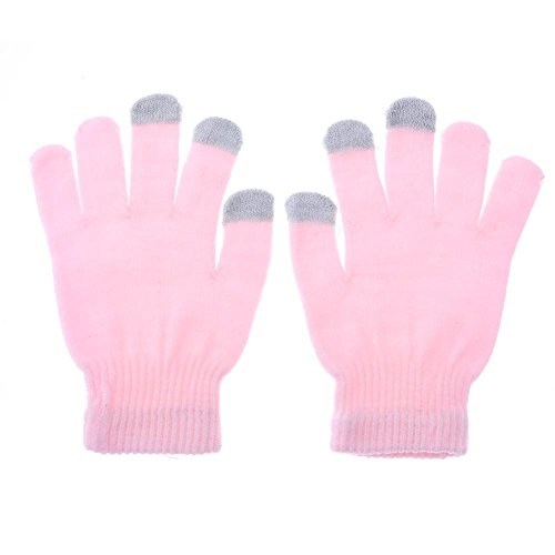 MKChung Warm Touch-Screen Gloves, Autumn Winter Male Female Students Five-Finger Points Finger Glove (Pink)