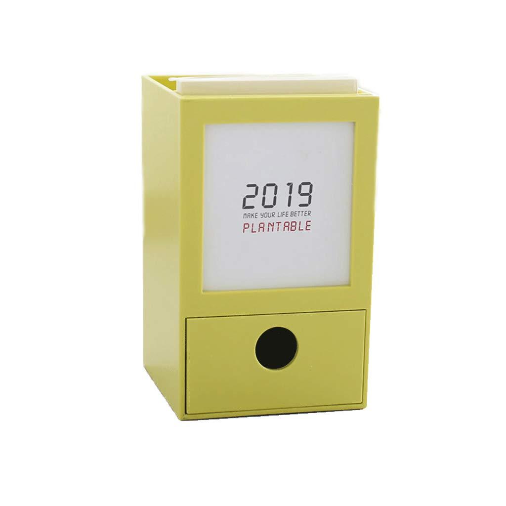 カレンダー引き出し 2019 デスクカレンダー クリエイティブ 英語の小さなカレンダー ノートストレージボックス  イエロー B07MCL2TT5